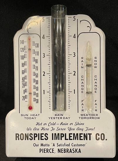 RONSPIES IMPLEMENT CO. NEW OLD STOCK ADVERTISING RAIN GUAGE