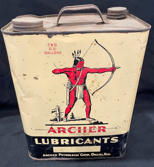 ARCHER LUBRICANTS ADVERTISING TIN - 2 GALLON SIZED CAN