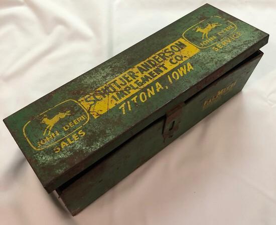 """SCHUTJER-ANDERSON IMPLEMENT CO. - TITONA, IOWA"" - JOHN DEERE SALES & SERVICE TOOL BOX"
