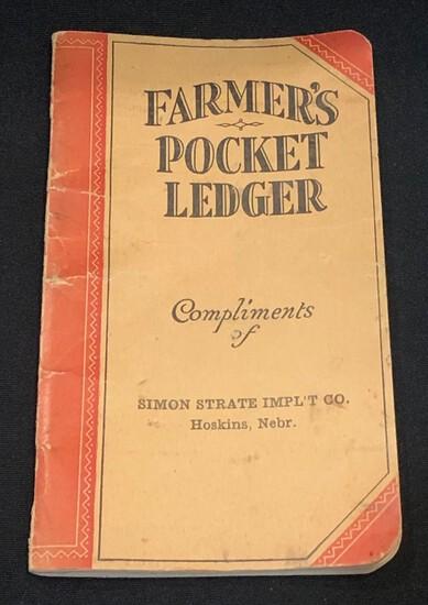 """1930-1932 """" SIMON STRATE IMPL'T CO. - HOSKINS, NEBR."""" FARMER'S POCKET LEDGER"""