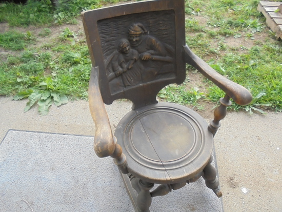 WONDERFUL OAK ROCKING CHAIR WITH LARGE CARVED BACK-BEAUTIFUL