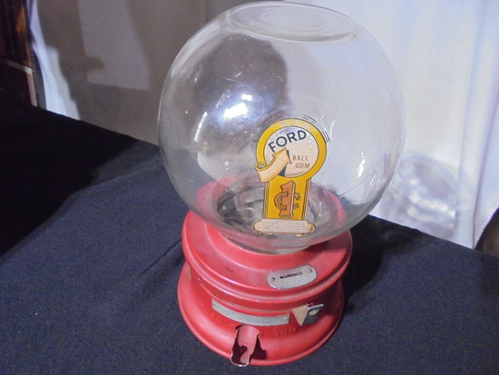 """VINTAGE """"fORD"""" COIN OPERATED GUM BALL MACHINE--11 INCHES TALL"""