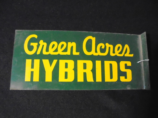 """OLD """"GREEN ACRES HYBRIDS"""" SIGN - 11 INCHES LONG"""