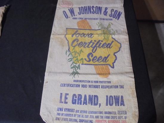 "OLD ""O.W. JOHNSON & SON"" SEED CORN SACK"