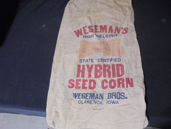 """OLD CLOTH ADVERTISING SEED CORN SACK """"WESEMAN'S"""" CLARENCE IOWA"""