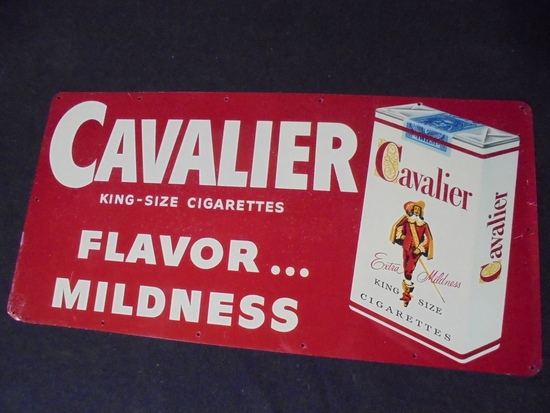 """OLD METAL CIGARETTE ADVERTISING SIGN """"CAVALIER""""-10 BY 20 INCHES"""