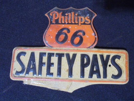 """VINTAGE PART OF A LICENSE PLATE TOPPER FROM """"PHILLIPS 66"""" QUITE NICE"""