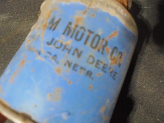 """VINTAGE ADVERTISING OIL CAN """"JOHN DEERE & FORD"""" FROM WAUSA NEBRASKA DEALER"""