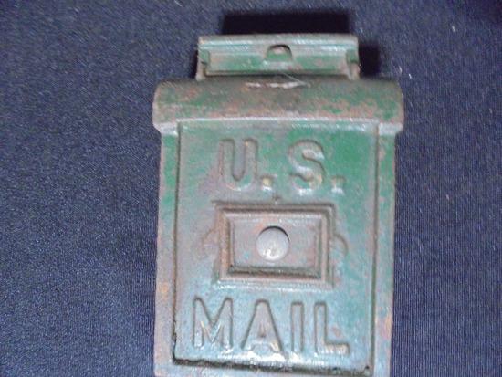 """ANTIQUE CAST IRON """"U.S. MAIL"""" COIN BANK-ORIGINAL PAINT"""