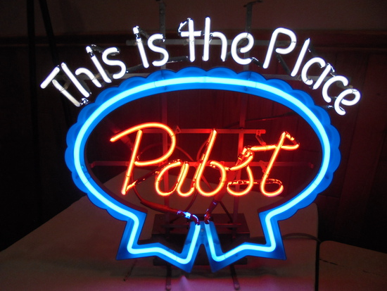 """OLD NEON ADVERTISING """"PABST BEER"""" LIGHT-WORKS"""