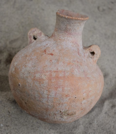 Early Bronze I Age Red Cross Hatched, High-Mouthed Jar with Pierced Lug Handles