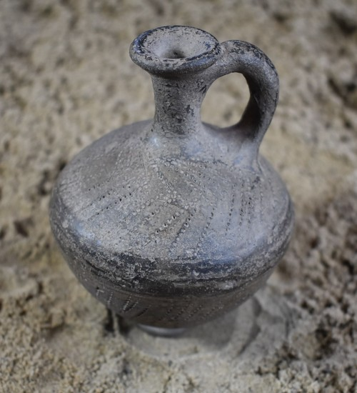 Middle Bronze Age Tel el Yahudiyeh Juglet with Perforated Design, & Black Glaze