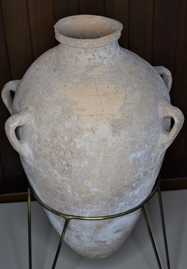 Iron Age II C mid 8th Century BCE Large Food or Oil Storage Jar w/ 4 Handles