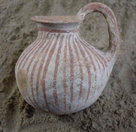 Early Bronze I Age  Painted High-Handle Cup w/ Red Stripes on White Slips