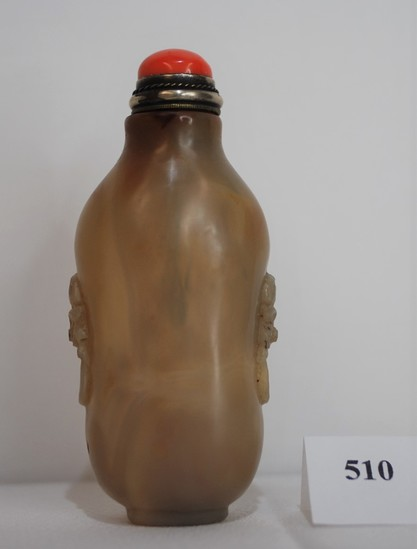 Antique Chinese Agate Snuff Bottle Elongated Rounded Rectangular w/ Coral & Brass Stopper