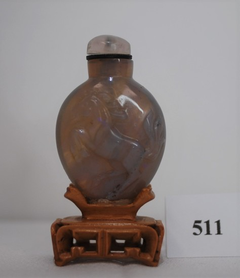 Early 20th Century Small Chinese Carved Translucent Pearly Grey Opal Snuff Bottle