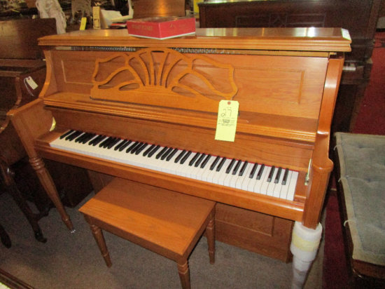 Hobart M Cable Oak upright piano, with bench