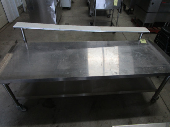 Stainless Steel Grill Prep Table on Castors with Prep Rail