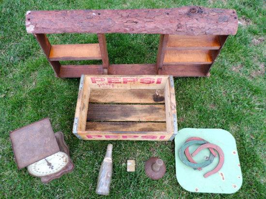 Wood Shelf, Zippo Lighter, Scales, Hog Scraper, Pitcher Game and Pepsi Crate