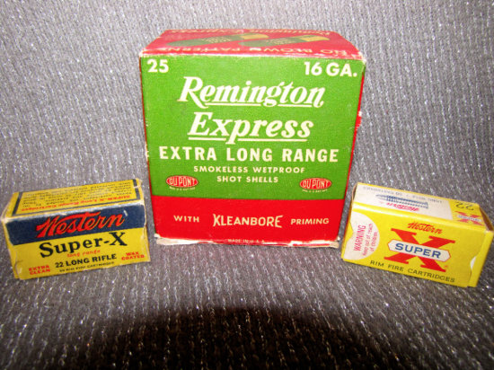 Remington Express 16 ga. and Western .22 Cal. Adv. Ammo Boxes with Mostly Full