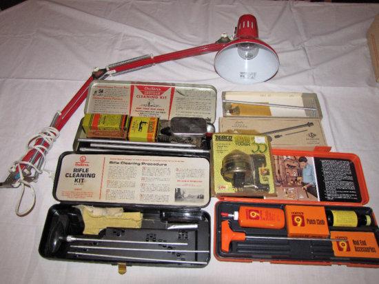 Misc. Gun Cleaning Rods, Bridge Lamp, Zebco Fishing Reel