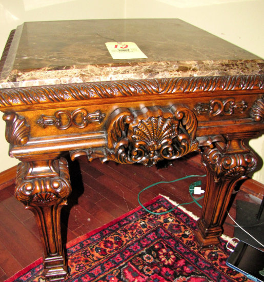 Ashley Casa Mollino Collection ornate marble top end table
