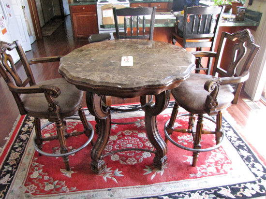 Ashley Casa Mollino Collection ornate higd table w/two padded swivel chairs