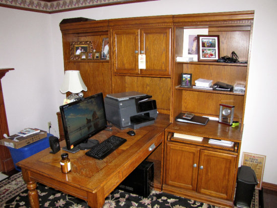 3pc Oak Desk w/two sided table and book shelves