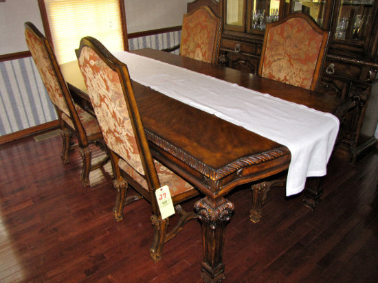 Ashley Casa Mollino Collection ornate Dining Table w/leaf and 6 Chairs