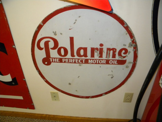 """Polarine The Perfect Motor Oil 29"""" Round Double-Sided Porcelain Sign Marked ADV423"""