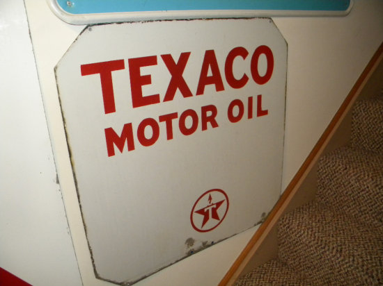 "Texaco Motor Oil Porcelain Double-Sided Sign, 30""H x 30""W"