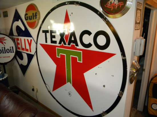 Texaco Approx. 6 ft Round Porcelain Sign