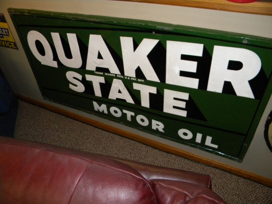 """Quaker State Motor Oil, Single-Sided Metal Sign, 70""""W x 34""""H, marked RS665"""