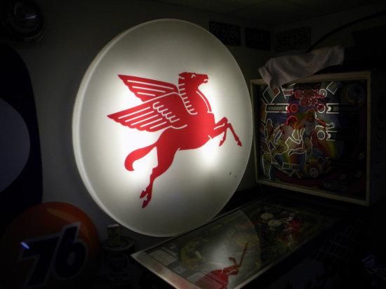 """Mobil Pegasus Horse Round Light, 47"""" Round, Non-Original Light"""