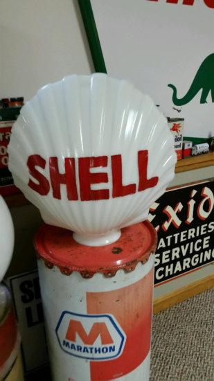 Old Shell Milk Glass Clam Gas Pump Globe