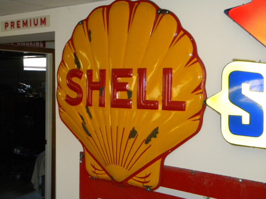 """Shell Porcelain Clam Sign, 49"""" x 49"""""""