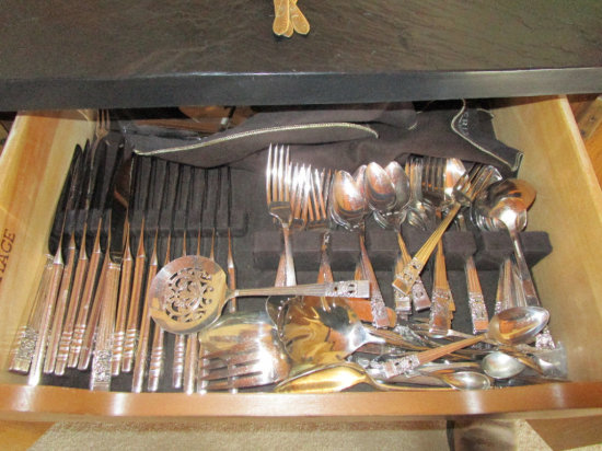 """""""Community"""" Plated Flatware set and 4 Sterling Spoons"""