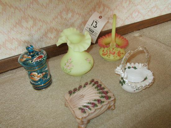 Silver Crest Basket, Burmese Vase, Fenton Basket.
