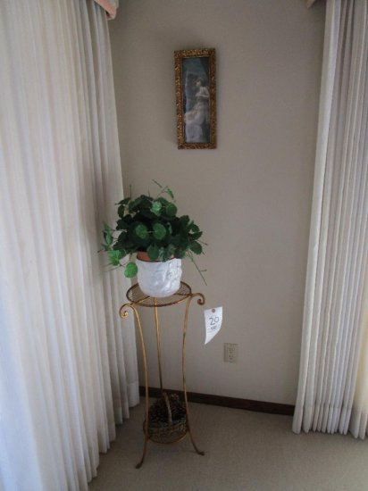 Metal Plant Stand, Planter with Artificial Plant, and Gold Framed Print