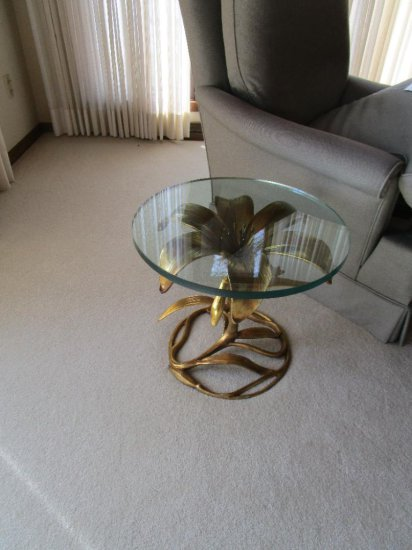 Glass Top End Table with Metal Floral Base