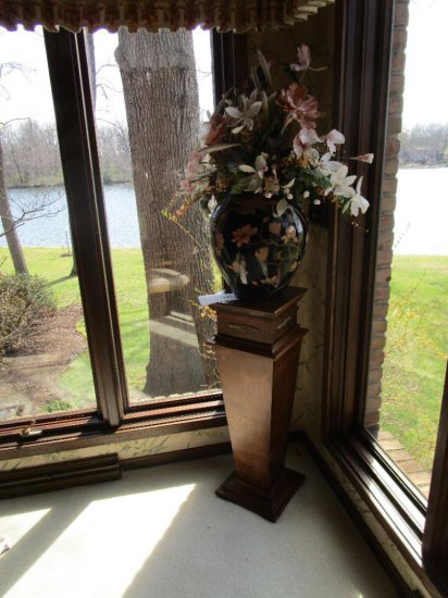Plant Stand with Vase and Artificial Plant