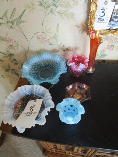 Assorted Hobnail and Carnival Glassware