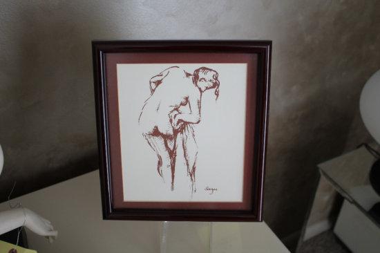 "Nude Female Silhouette in Frame ""Degas"""
