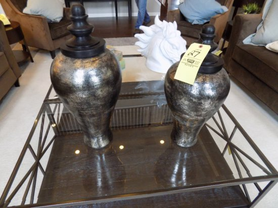 Horse head bust, large urns, decor storage boxes