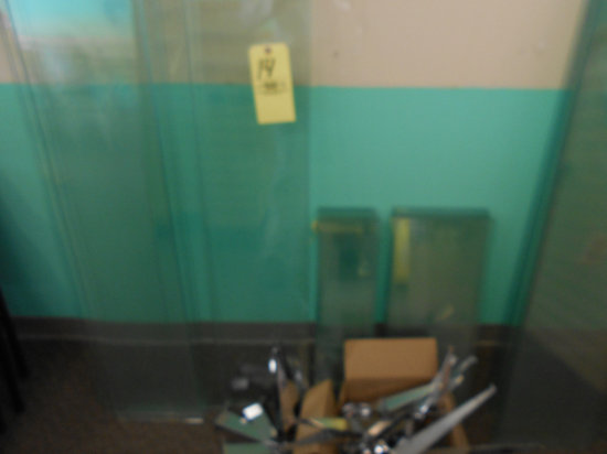 Assortment of glass shelves with misc. brackets