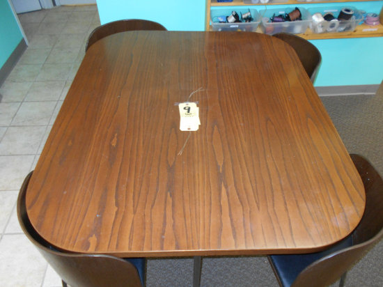 Oak top table with four chairs