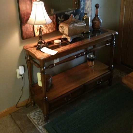 (5) Piece oak end table set