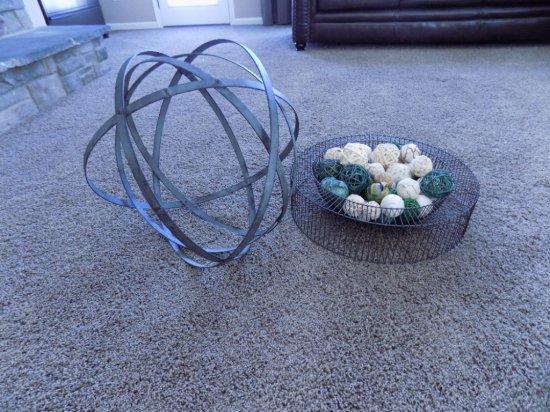 Metal Sphere And Coffee Table Display
