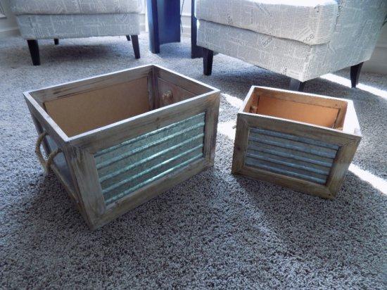 (2) Wood/metal Storage Boxes
