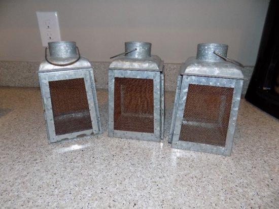 (3) Metal Lantern Candle Holders